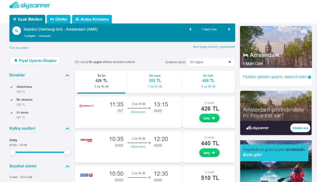 uçak bileti arama